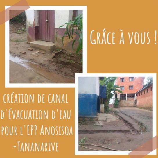 Creation de canal d'évacuation d'eau pour l'EPP Anosisoa